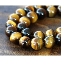 Tiger Eye Beads, Natural, 8mm Round