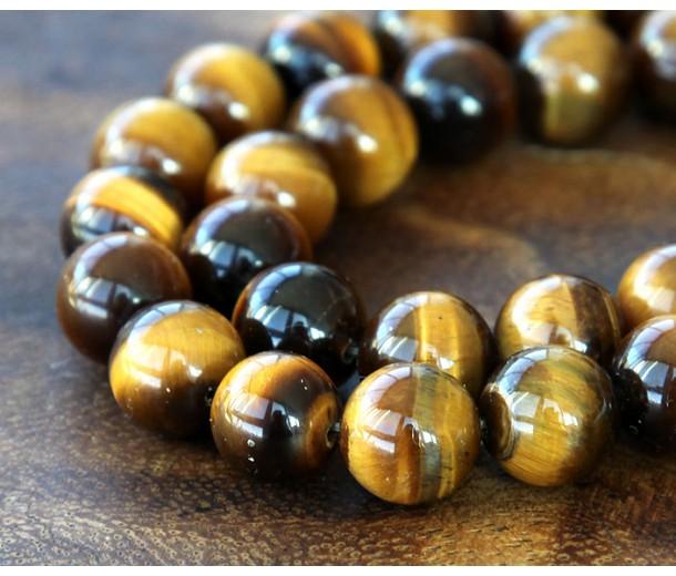 Tiger Eye Beads, Natural, 10mm Round