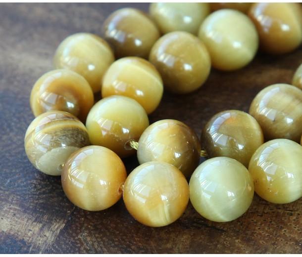 Tiger Eye Beads, Goldenrod, 10mm Round