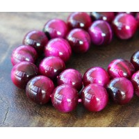 Tiger Eye Beads, Fuchsia, 10mm Round
