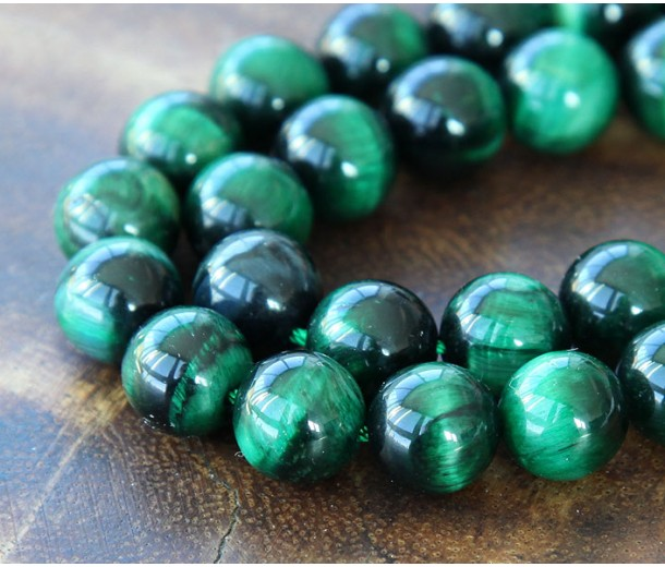 Tiger Eye Beads, Green, 10mm Round