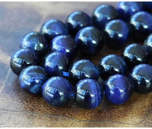 Tiger Eye Beads, Midnight Blue, 10mm Round