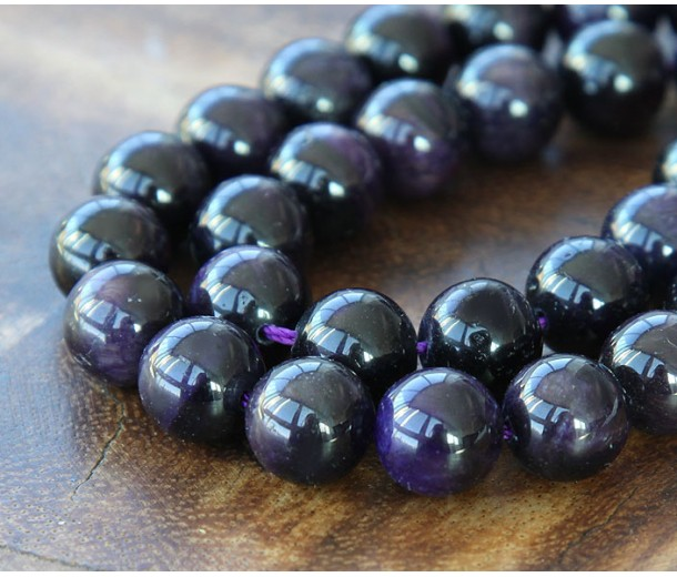 Tiger Eye Beads, Dark Purple, 10mm Round