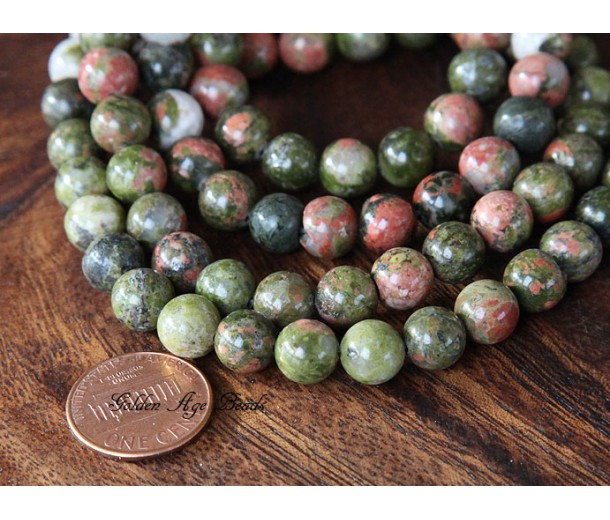 Unakite Beads, 8mm Round, 15 Inch Strand