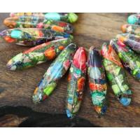 Impression Jasper Stick Beads, Multicolor, 18-40mm