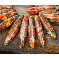 Impression Jasper Stick Beads, Red Orange, 18-40mm