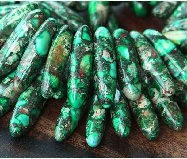 Impression Jasper Stick Beads, Dark Green, 18-40mm