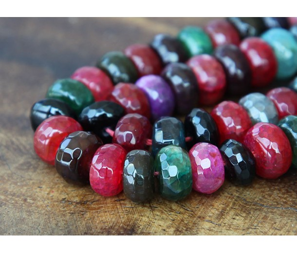 Fire Crackle Agate Beads, Multicolor, 6x10mm Faceted Rondelle