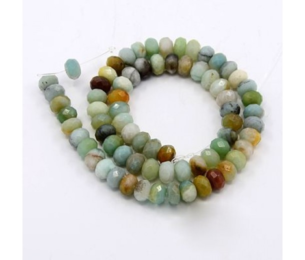 Amazonite Beads, Natural Multicolor, 5x8mm Faceted Rondelle