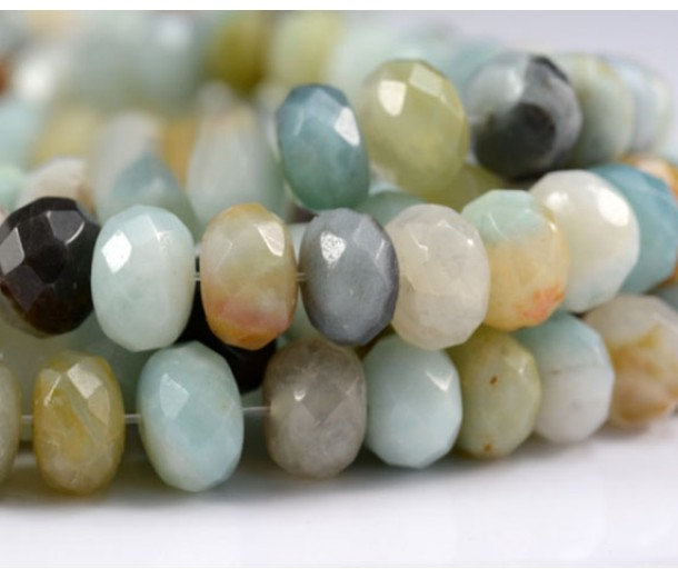 Amazonite Beads, Multicolor, 5x8mm Faceted Rondelle