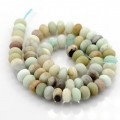 Matte Amazonite Beads, Multicolor, 5x8mm Smooth Rondelle