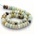 Matte Amazonite Beads, Multicolor, 6x10mm Smooth Rondelle