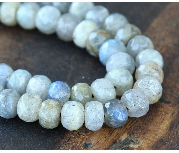 Labradorite Beads, 5x8mm Faceted Rondelle, Pack of 30 Beads