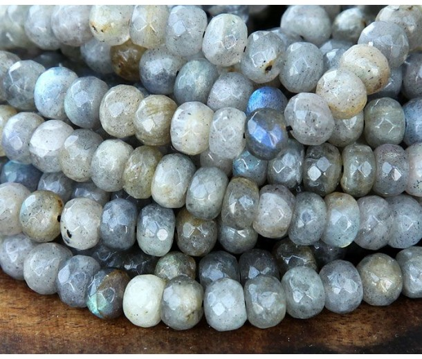 Labradorite Beads, 5x8mm Faceted Rondelle
