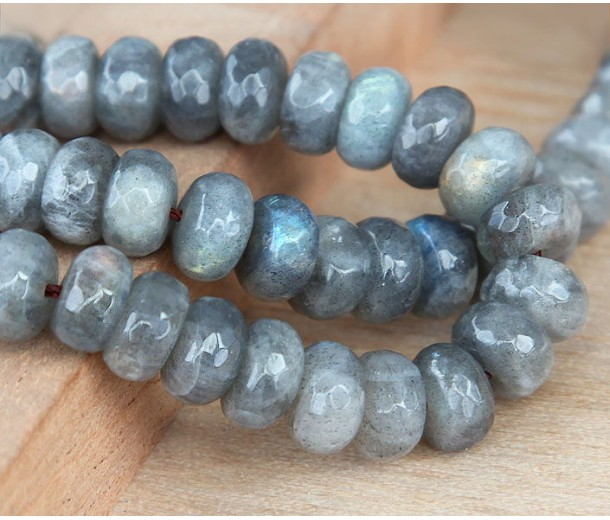 Labradorite Beads, 6x10mm Faceted Rondelle