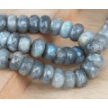 Labradorite Beads, 6x10mm Faceted Rondelle, Pack of 20 Beads
