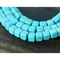 Magnesite Beads, Light Blue, 4x4mm Cube