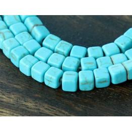 Magnesite Beads, Light Blue, 4x4mm Cube