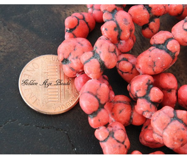 Magnesite Beads, Tomato Red, Small to Medium Nugget