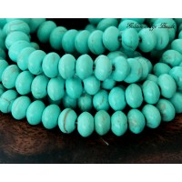 Magnesite Beads, Light Teal, 6x4mm Saucer