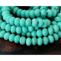 Magnesite Beads, Light Teal, 6x4mm Saucer