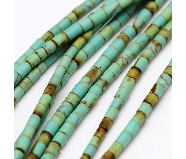 Magnesite Beads, Teal Green, 2x1mm Heishi Tube