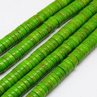 Imitation Turquoise Beads, Green, 8x3mm Heishi Disk