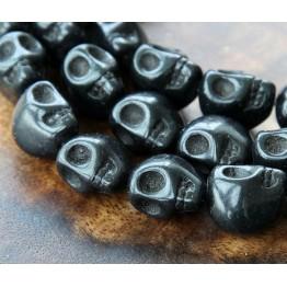 Howlite Beads, Black, 12mm Skull
