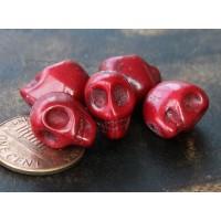 Howlite Beads, Red, 12mm Skull