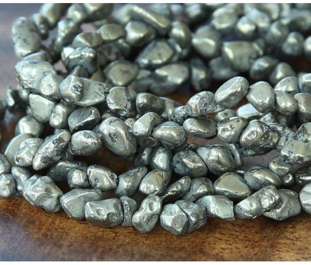 Pyrite Beads, Small Tumbled Nugget