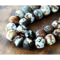 Fire Crackle Agate Beads, Brown, 10mm Faceted Round