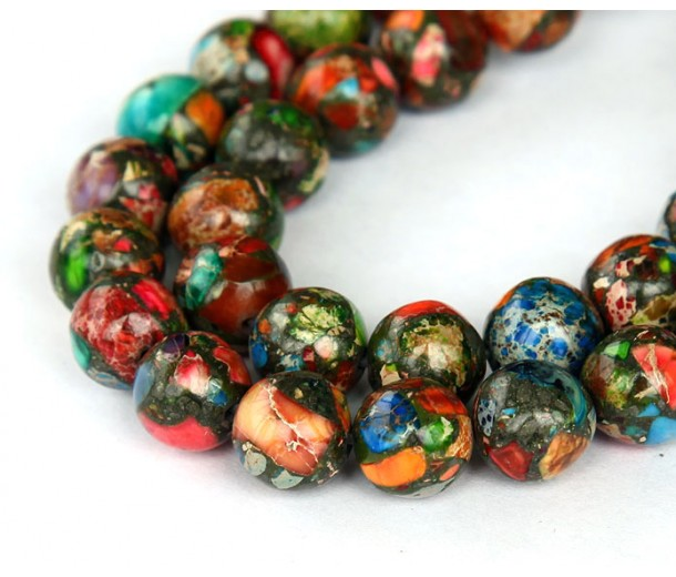 Impression Jasper Beads, Multicolor, 8mm Round