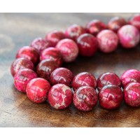 Impression Jasper Beads, Fuchsia, 10mm Round