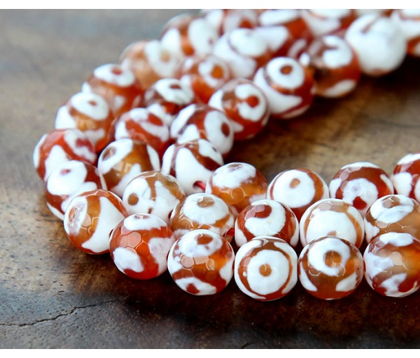 Dzi Agate Beads, Caramel and White, 8mm Faceted Round