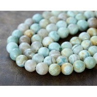 Striped Agate Beads, Teal and Grey, 8mm Faceted Round