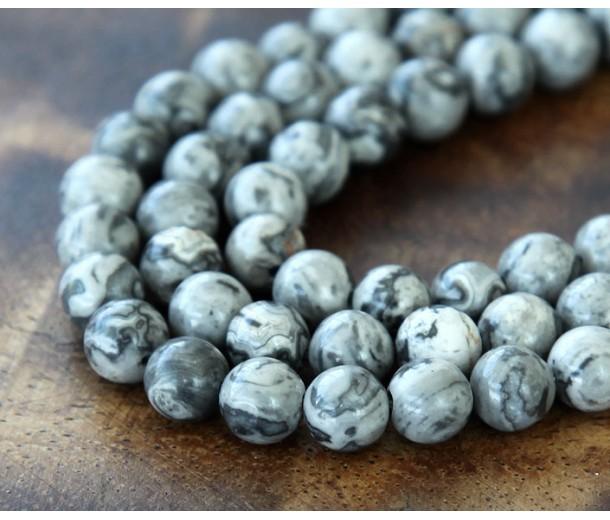 Scenery Jasper Beads, 4mm Round