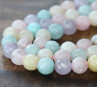Agate Beads, Light Pastel Mix, 8mm Faceted Round