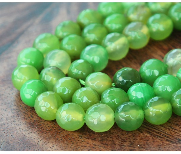 Agate Beads, Apple Green, 8mm Faceted Round