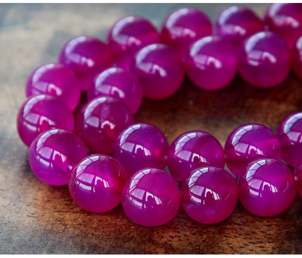 Dyed Agate Beads, Magenta, 10mm Round