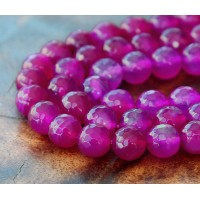 Agate Beads, Fuchsia, 8mm Faceted Round