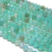 Agate Beads, Milky Teal, 8mm Faceted Round