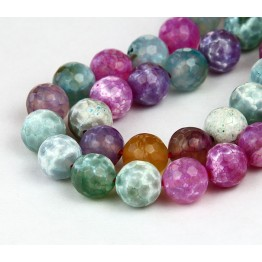 Fire Crackle Agate Beads, Candy Multicolor, 10mm Faceted Round