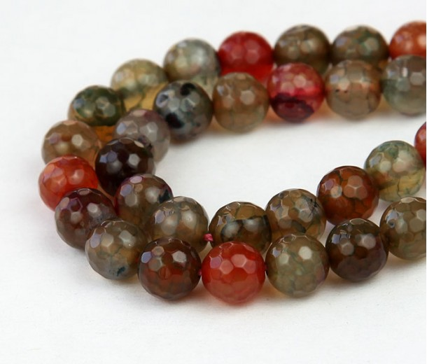 Fire Crackle Agate Beads, Multicolor, 8mm Faceted Round