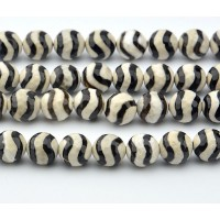 Dzi Agate Beads, Beige with Black Wave, 8mm Faceted Round