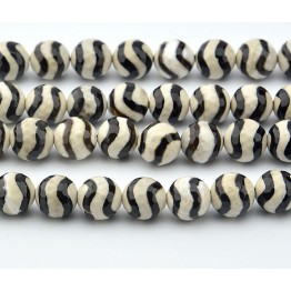 Dzi Agate Beads, Black Wave, 10mm Faceted Round