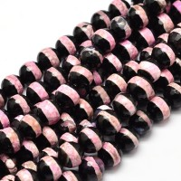 Dzi Agate Beads, Black with Pink Stripe, 8mm Faceted Round