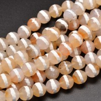 Dzi Agate Beads, Tan with White Stripe, 8mm Faceted Round