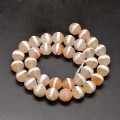 Dzi Agate Beads, Tan with White Stripe, 8mm Faceted Round, 15 Inch Strand
