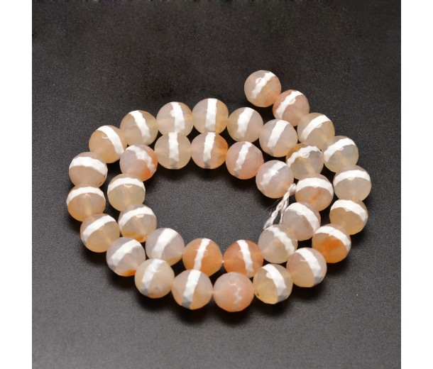 Dzi Agate Beads, Tan with White Stripe, 10mm Faceted Round