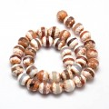 Fire Crackle Agate Beads, Light Cappuccino Stripe, 8mm Faceted Round, 15 Inch Strand